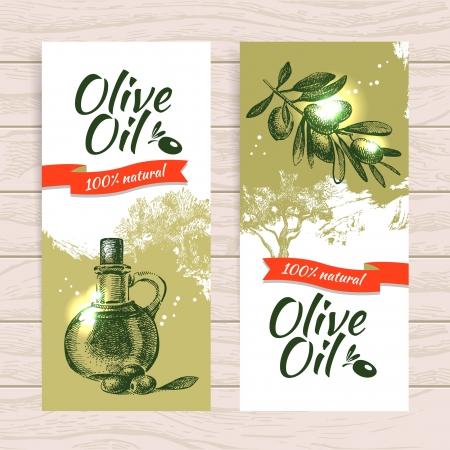 foglie ulivo: Insieme della bandiera di epoca oliva splash sfondo sfondi