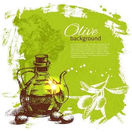 olive oil: Vintage olive background. Hand drawn illustration