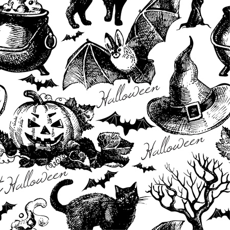 Halloween seamless pattern. Hand drawn illustration Vector