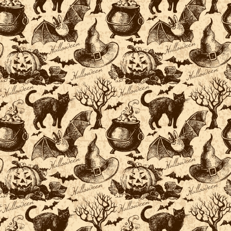 halloween background: Halloween seamless pattern. Hand drawn illustration