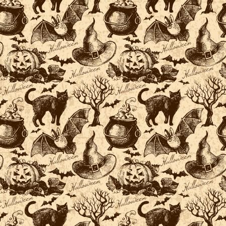 Modelo inconsútil de Halloween. Dé la ilustración exhausta Foto de archivo - 22150461
