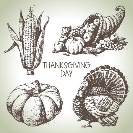 感謝祭の日を設定します。手描きのヴィンテージのイラスト  イラスト・ベクター素材