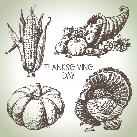 thanksgiving: Thanksgiving Day set. Hand drawn vintage illustrations