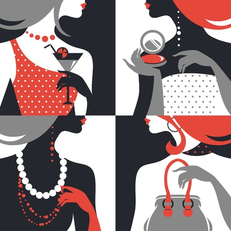 pearl jewelry: Set of beautiful fashion woman silhouettes. Flat design  Illustration