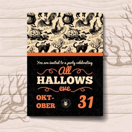 calabazas de halloween: Invitaci�n de Halloween. Dibujado a mano del ejemplo del vintage