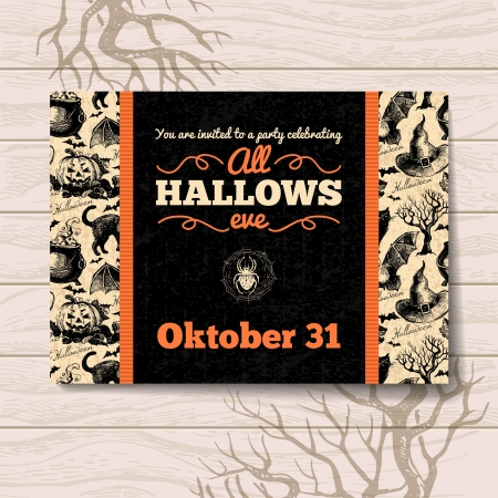 Halloween invitation. Vintage hand drawn illustration Illustration