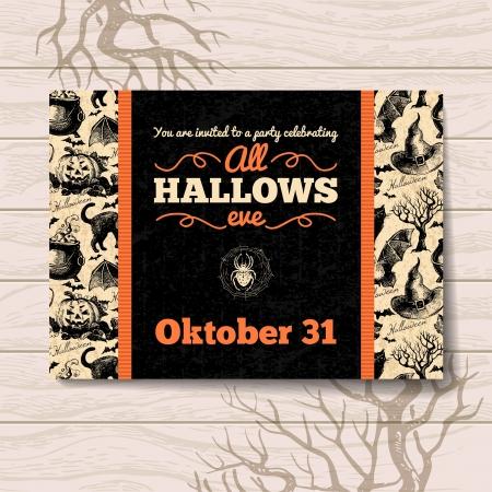 uitnodigen: Halloween uitnodiging. Vintage hand getekende illustratie