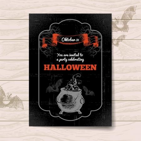 vintage halloween: Halloween invitation. Vintage hand drawn illustration Illustration