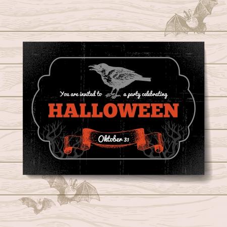 Halloween invitation. Vintage hand drawn illustration Illustration