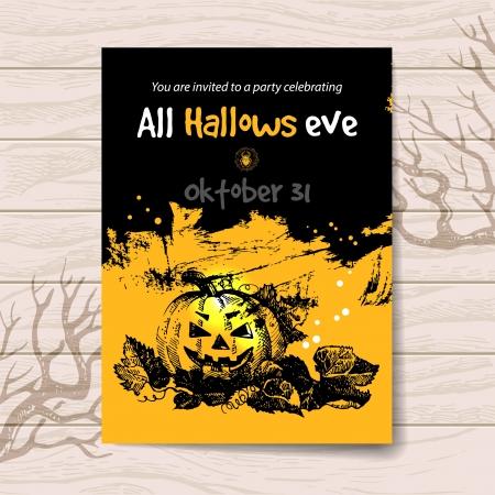 Halloween invitation. Vintage hand drawn illustration Vector