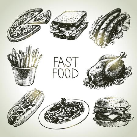 italian pasta: Conjunto de comida r�pida. Ilustraciones drenadas mano Vectores