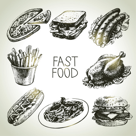 burger and fries: Fast food set. Hand drawn illustrations  Illustration