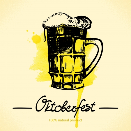 Oktoberfest hand drawn illustration with watercolor back  Vector