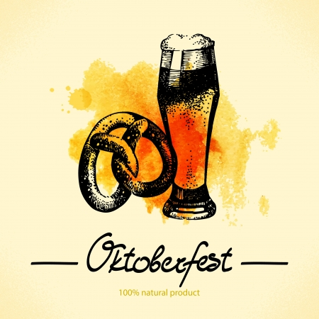 Oktoberfest hand drawn illustration with watercolor back Stock Vector - 22474269