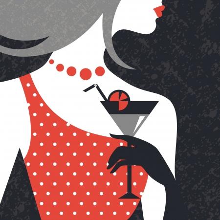 아름 다운 패션 여자의 실루엣. 평면 디자인 일러스트