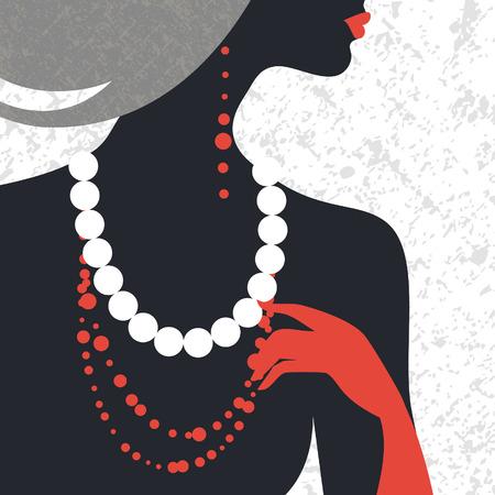 perlas: Hermosa silueta de mujer de moda. Diseño plano
