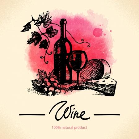 kaas: Wijn vintage achtergrond. Aquarel hand getekende illustratie Stock Illustratie