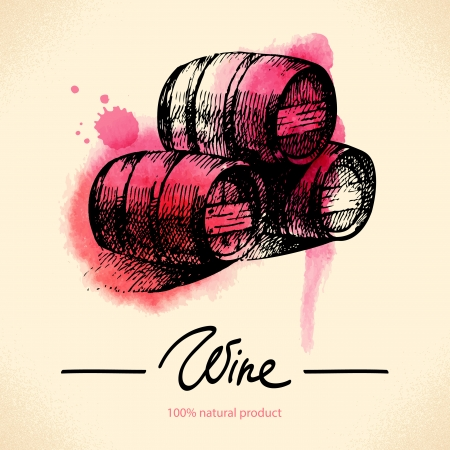 winemaking: Wine vintage background. Watercolor hand drawn illustration