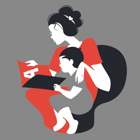 babysit: Beautiful silhouette  of mother and baby reading book. Card of Happy Mothers Day