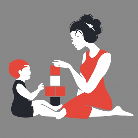 babysit: Beautiful silhouette  of mother and baby playing with toys. Happy Mothers Day
