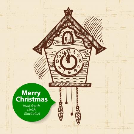reloj cucu: Navidad de fondo con ilustración dibujados a mano