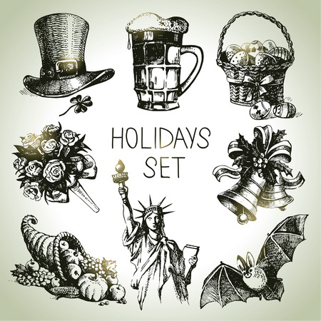 christmas bells: Hand drawn Holidays set  Illustration