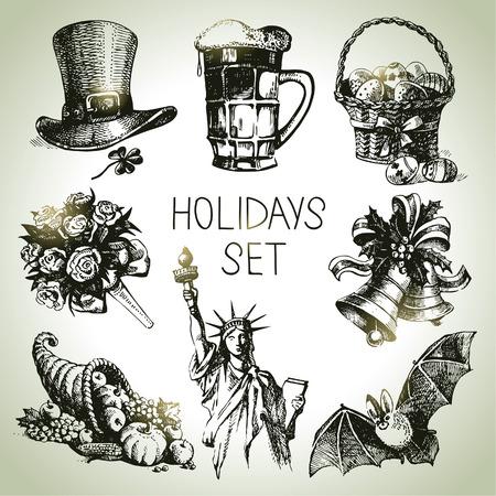 campanas de navidad: Mano Vacaciones dibujados establecen