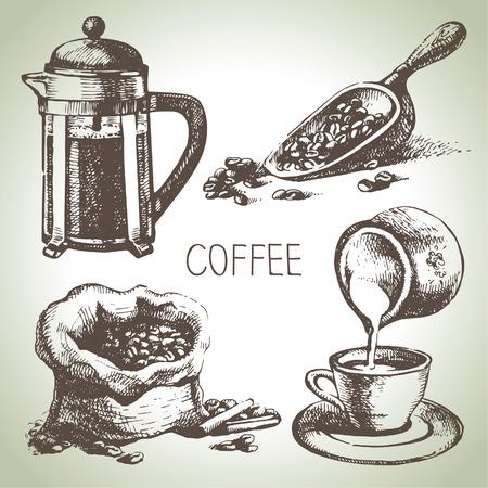 コーヒーカップ: 手描きのコーヒー セット
