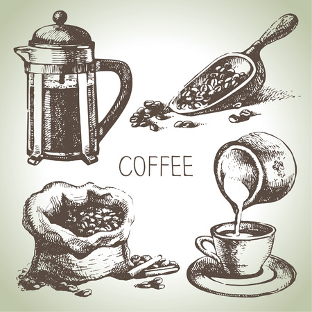 손으로 그린 커피 세트