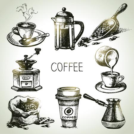 tasse de caf�: ? caf? Main dessin?e Illustration