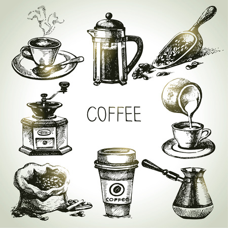 Hand drawn coffee set Illustration