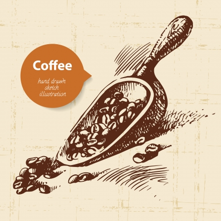 hand shovel: Hand drawn vintage coffee background