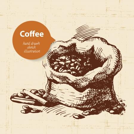 coffee bag: Hand drawn vintage coffee background
