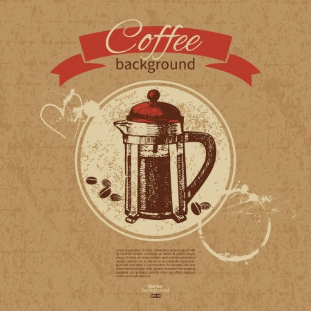 Hand drawn vintage coffee background. Menu for restaurant, cafe, bar, coffeehouse  Vector
