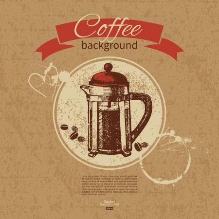 cafe bar: Hand drawn vintage coffee background. Menu for restaurant, cafe, bar, coffeehouse