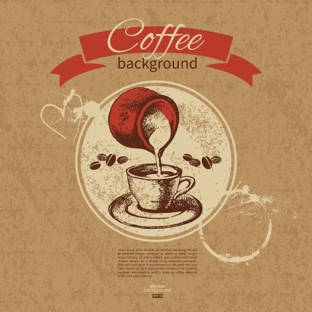 coffeehouse: Hand drawn vintage coffee background. Menu for restaurant, cafe, bar, coffeehouse