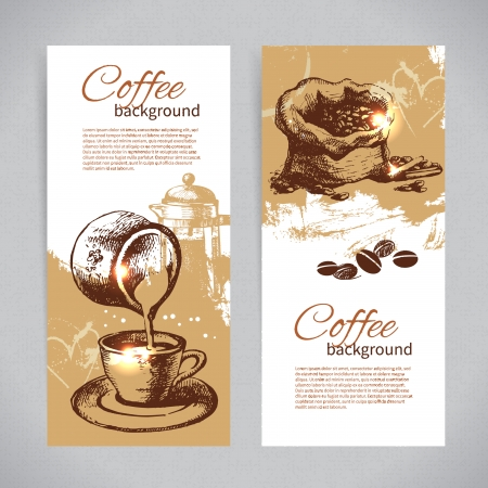 Banner set of vintage coffee backgrounds. Menu for restaurant, cafe, bar, coffeehouse Stock Vector - 22913049