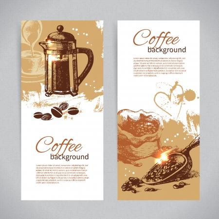バナーのビンテージ コーヒー背景のセット。レストラン、カフェ、バー、喫茶店のメニュー