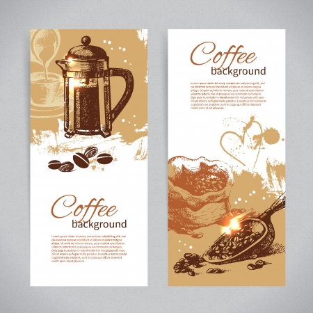 빈티지 커피 배경 배너 세트. 레스토랑, 카페, 바, 커피 하우스에 대한 메뉴