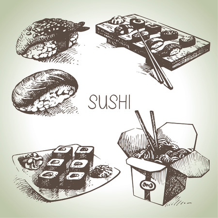 rice noodles: Hand drawn sushi set