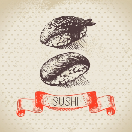 Hand drawn vintage sushi background  Vector