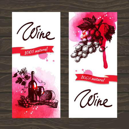 wood creeper: Banners of wine vintage background. Hand drawn watercolor illustrations