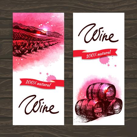 Banner di vino sfondo vintage. Disegnati a mano illustrazioni ad acquerello Vettoriali