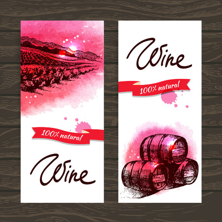 vin: Banni�res de vin mill�sime historique. Main dessin�e illustrations � l'aquarelle