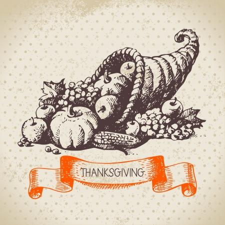 accion de gracias: Dibujado a mano vintage background D�a de Acci�n de Gracias