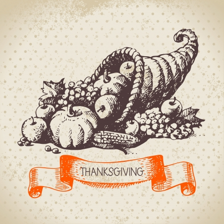 thanksgiving: Hand drawn vintage Thanksgiving Day background