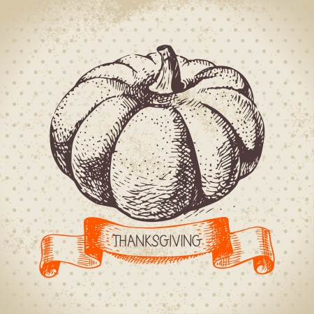 Hand drawn vintage Thanksgiving Day background Stock Vector - 22913064