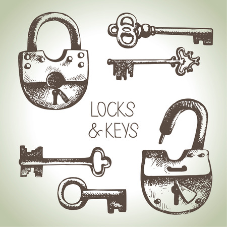 safe lock: Hand drawn locks and keys set