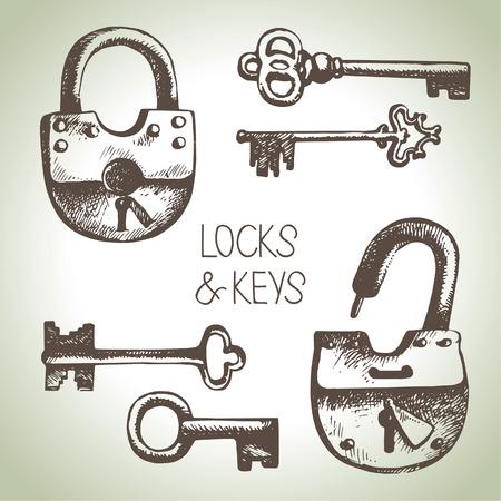 Hand getrokken sloten en sleutels te stellen