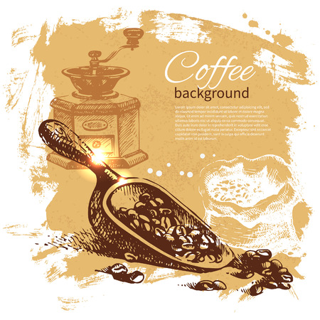 coffee mill: Hand drawn vintage coffee background